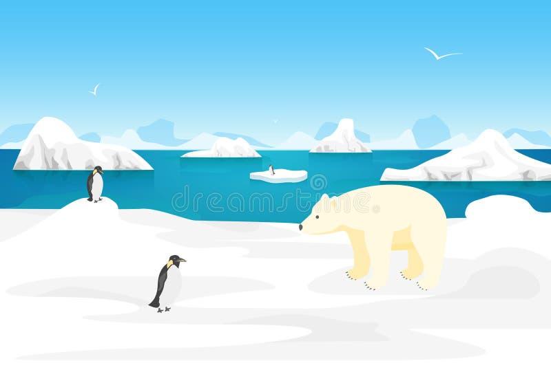Scena all'aperto del paesaggio artico del ghiaccio del fumetto Vettore illustrazione vettoriale