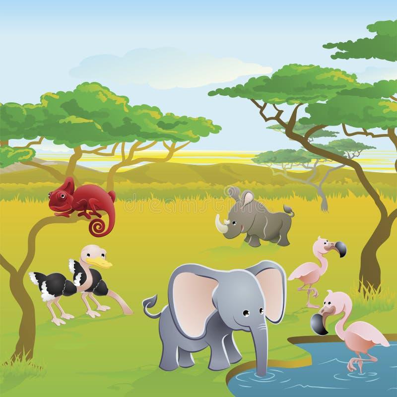 Scena animale del fumetto di safari africano sveglio illustrazione di stock