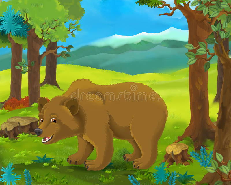 Scena animale del fumetto - orso royalty illustrazione gratis