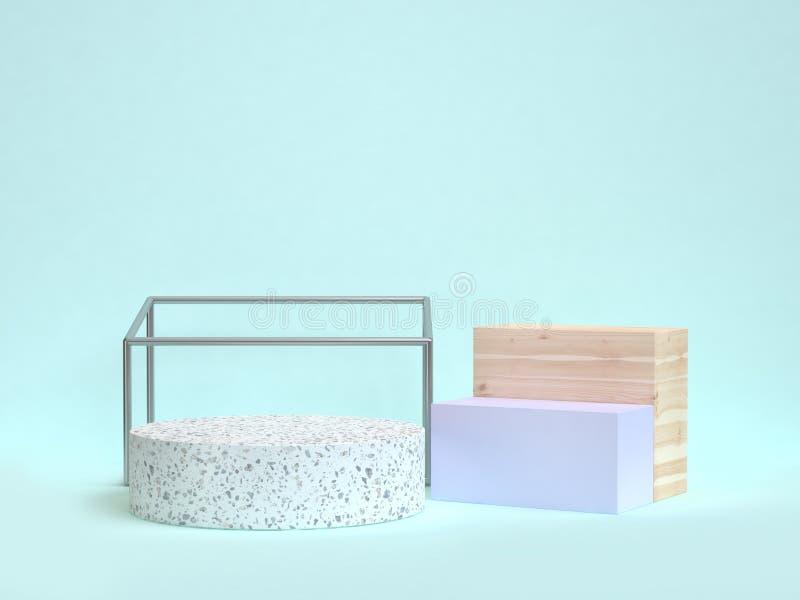 scena blu di forma geometrica dell'estratto del cerchio del marmo della rappresentazione 3d illustrazione di stock