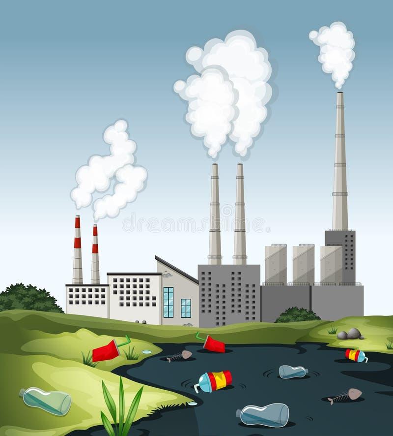 Scena con acqua sporca alla fabbrica royalty illustrazione gratis