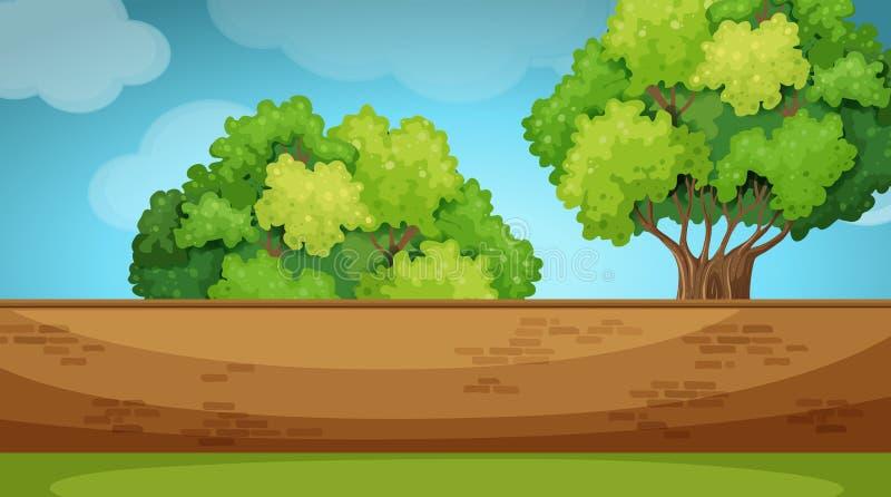 Scena con brickwall nel giardino illustrazione di stock
