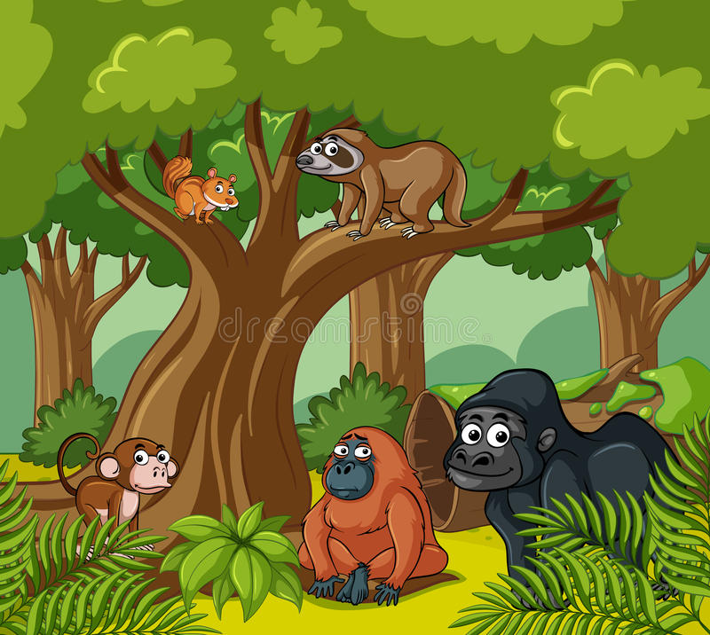 Scena con gli animali selvatici nella foresta royalty illustrazione gratis