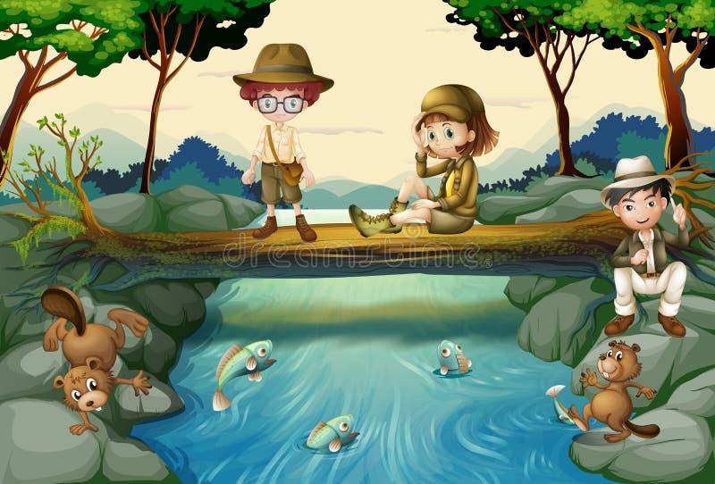Scena con i bambini al fiume illustrazione di stock