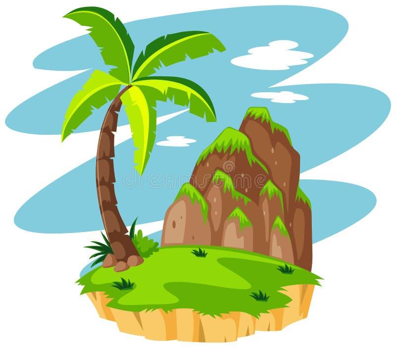 Scena con il cocco sull'isola illustrazione vettoriale