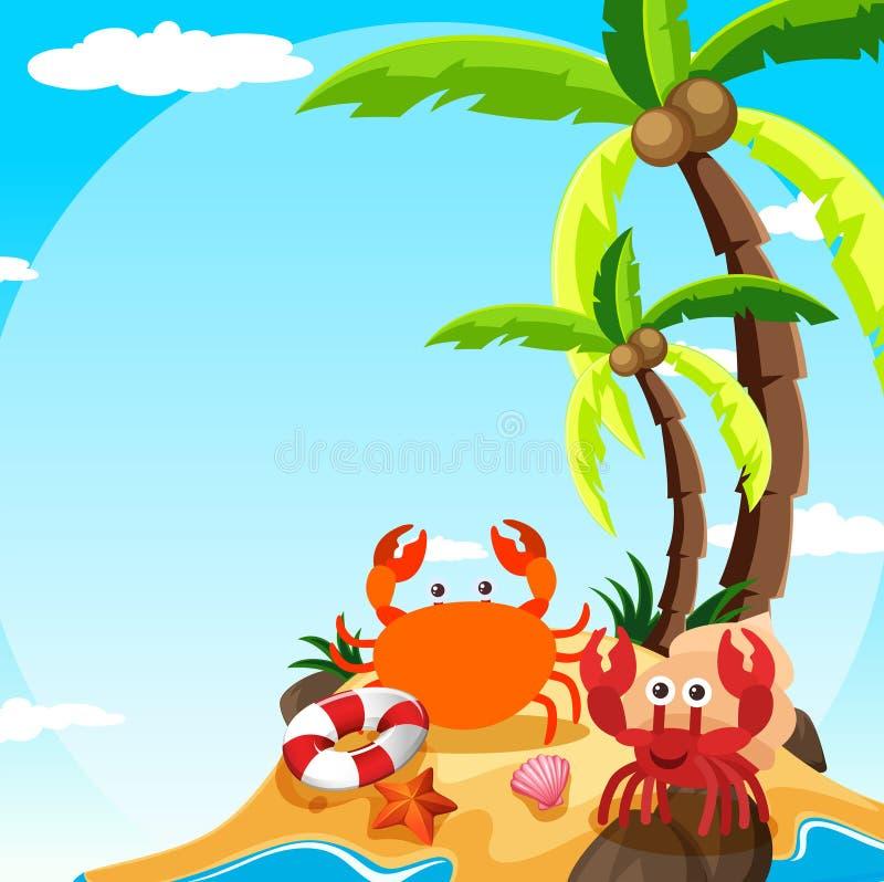 Scena con il granchio ed il paguro sull'isola illustrazione vettoriale