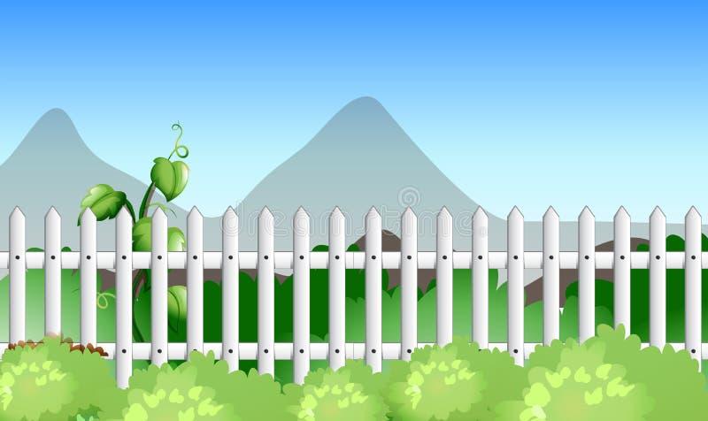 Scena con il recinto ed il giardino illustrazione vettoriale