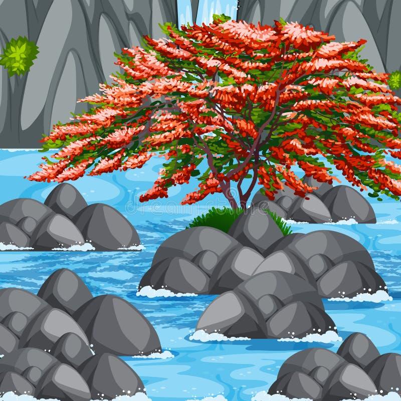 Scena con l'albero ed il fiume royalty illustrazione gratis