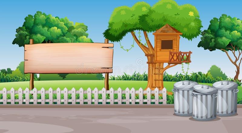 Scena con la capanna sugli'alberi nel parco illustrazione di stock