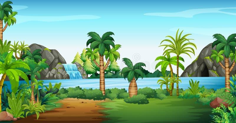 Scena con la cascata e la caverna royalty illustrazione gratis