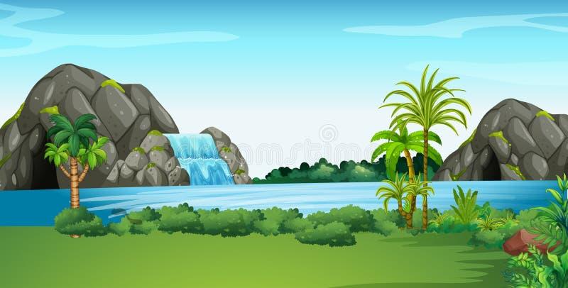 Scena con la cascata ed il campo royalty illustrazione gratis