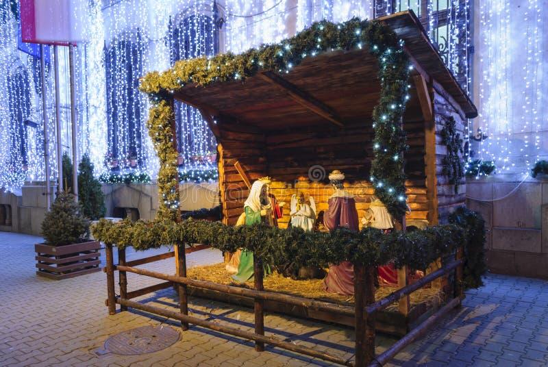 Scena con la nascita di Gesù fotografie stock libere da diritti