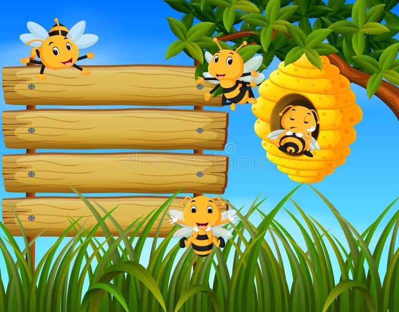 Scena con le api che volano intorno all'illustrazione dell'alveare con legno in bianco illustrazione vettoriale