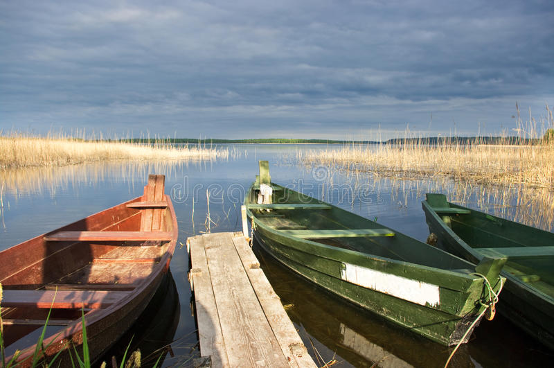 Scena con le barche fotografia stock libera da diritti