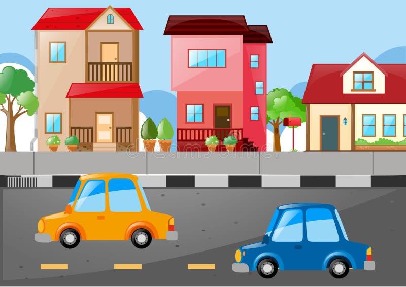 Scena con le case e le automobili sulla strada royalty illustrazione gratis