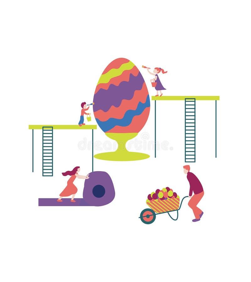 Scena con le famiglie ed il grande uovo i bambini dipingono un uovo, il padre rotola un'automobile del giardino royalty illustrazione gratis