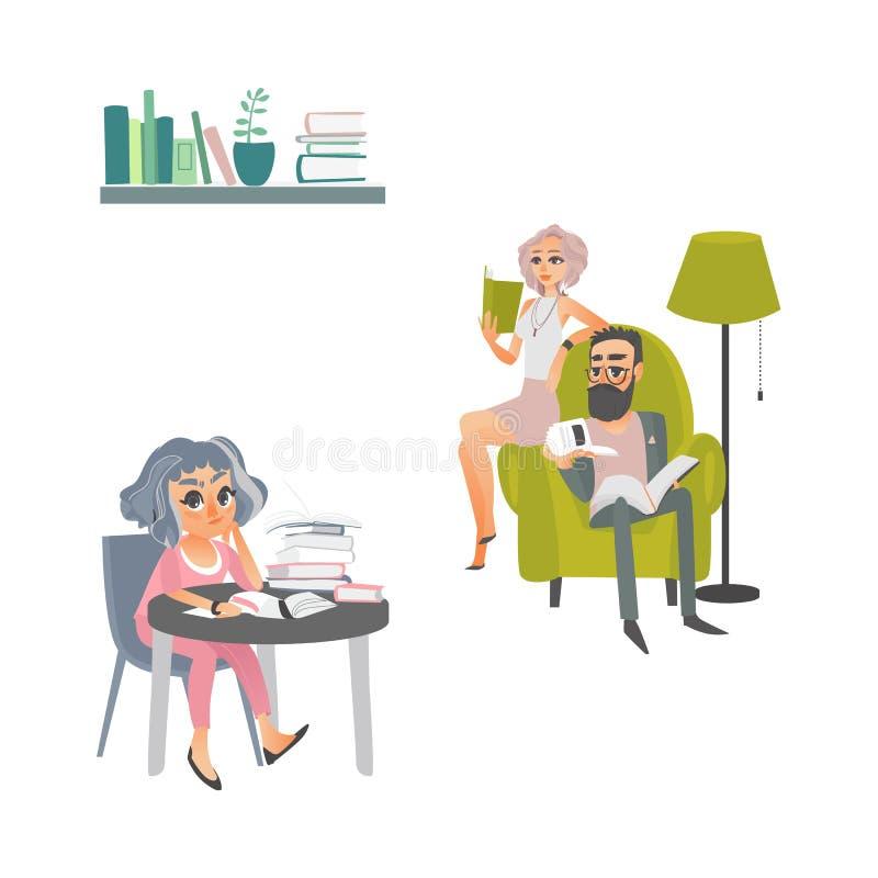 Scena dei libri di lettura della gente del fumetto di vettore illustrazione vettoriale