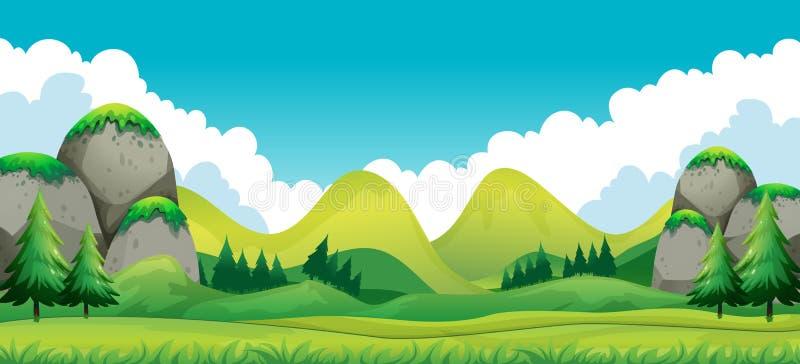 Scena del campo verde con il fondo delle montagne illustrazione di stock
