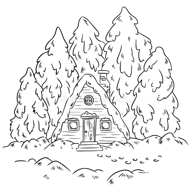 Scena del ceppo della cabina di inverno per colorare Cuoco unico illustrazione di stock