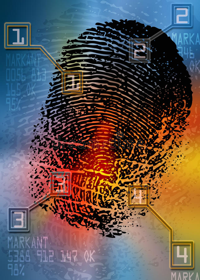 Scena del crimine - analizzatore biometrico di sicurezza - identificazione royalty illustrazione gratis