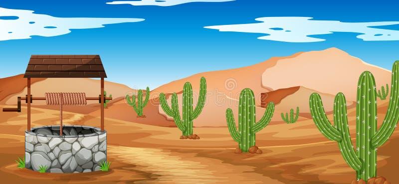 Scena del deserto con il cactus ed il pozzo illustrazione vettoriale