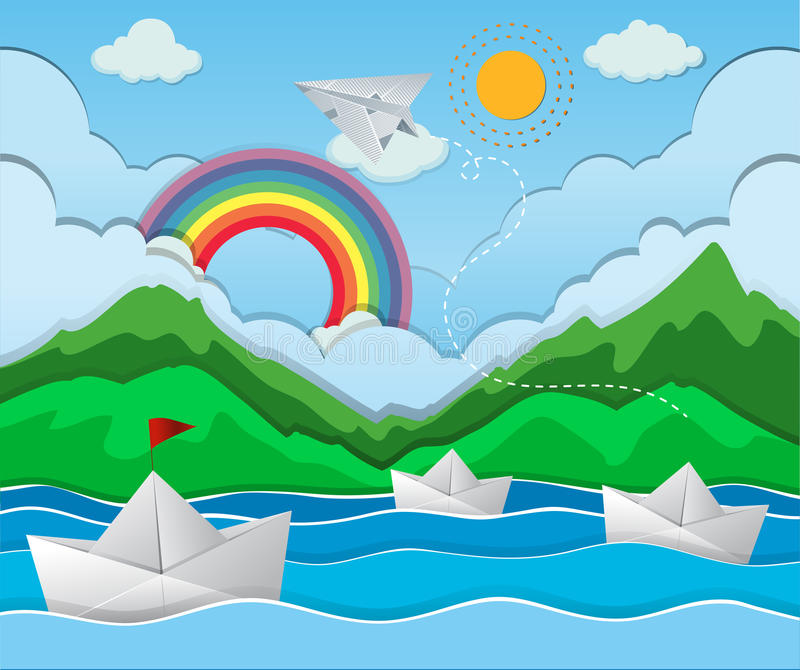 Scena del fiume con il galleggiamento di carta della barca illustrazione di stock