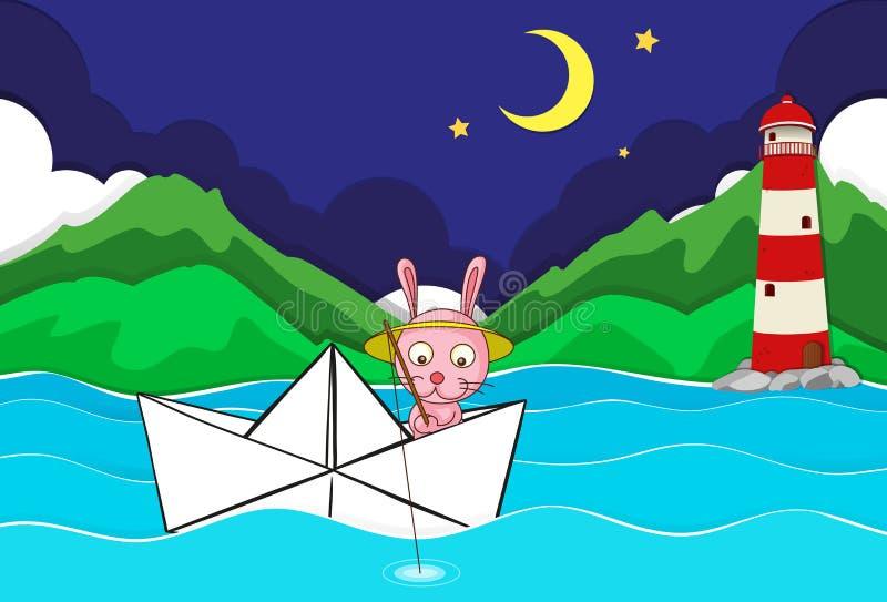 Scena del fiume con pesca del coniglio sul paperboat illustrazione di stock