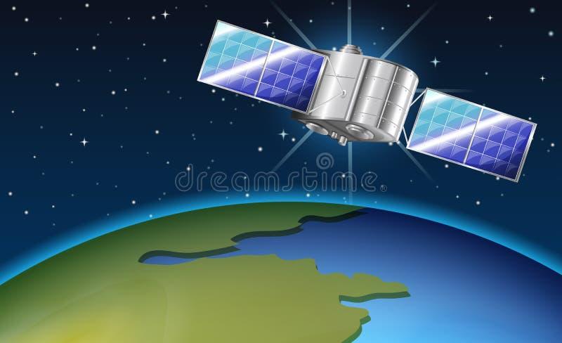 Scena del fondo con il satellite che sorvola terra royalty illustrazione gratis