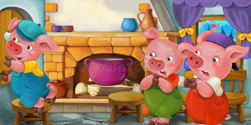 Scena del fumetto con i maiali nella cucina illustrazione di stock