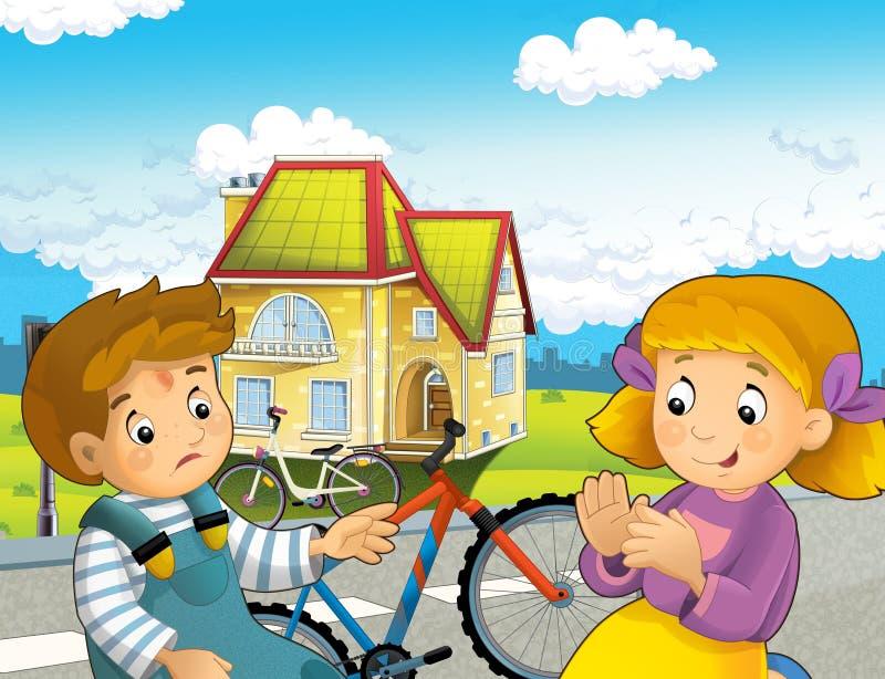 Scena del fumetto con il ragazzo e la ragazza sul giro della bicicletta che ha incidente illustrazione di stock