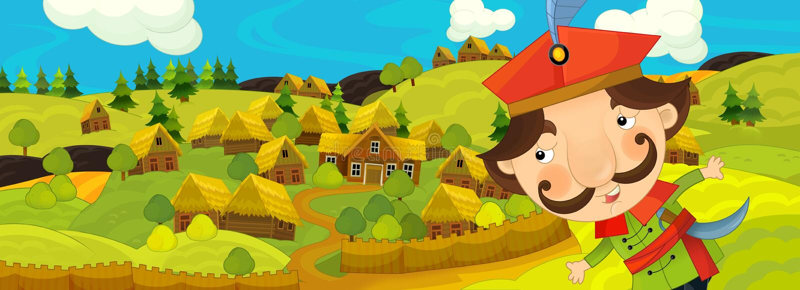 Scena del fumetto con l'agricoltore vicino al villaggio dell'azienda agricola royalty illustrazione gratis