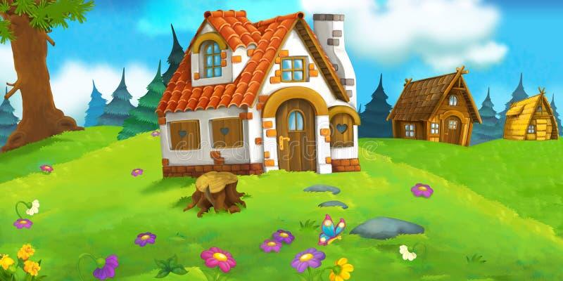 Scena del fumetto con la bella casa con mattoni a vista rurale nella foresta sul prato illustrazione di stock