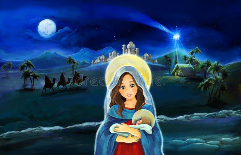 Scena del fumetto con re di Maria e di Jesus Christ e di viaggio illustrazione di stock