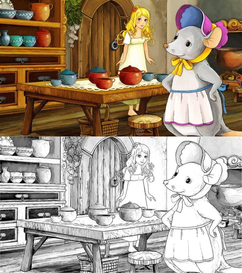 Scena del fumetto di favola con una ragazza nella cucina con un topo illustrazione vettoriale
