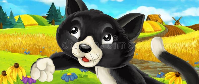 Scena del fumetto di un gatto sulle carote della riunione dell'azienda agricola illustrazione di stock