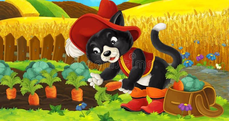 Scena del fumetto di un gatto sulle carote della riunione dell'azienda agricola illustrazione vettoriale