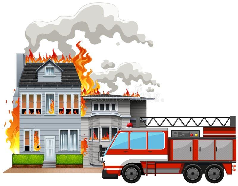 Scena del fuoco con il camion dei vigili del fuoco royalty illustrazione gratis