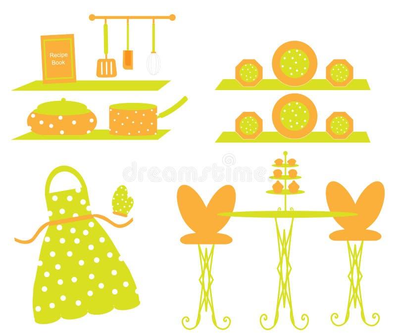 Scena del grembiule delle terrecotte degli utensili della cucina illustrazione vettoriale