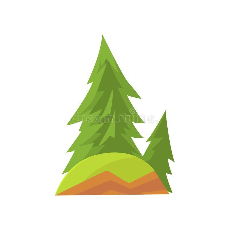 Scena del paesaggio del fumetto con gli abeti della foresta e l'erba verde sulla collina Albero sempreverde conifero Terreno bosc royalty illustrazione gratis