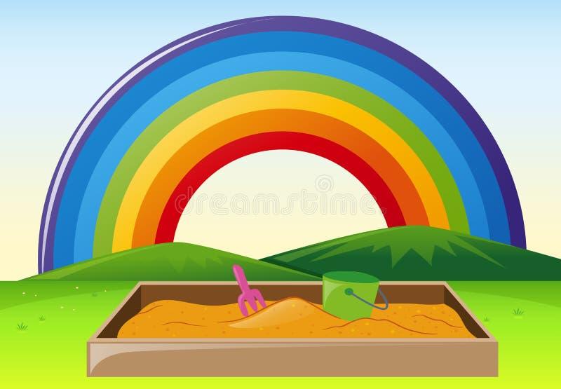 Scena del parco con la sabbionaia e l'arcobaleno illustrazione vettoriale