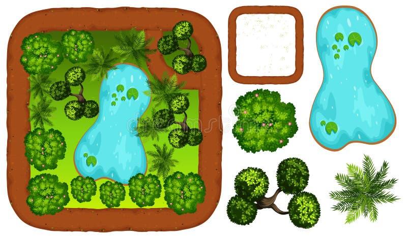 Scena del parco con lo stagno e l'albero royalty illustrazione gratis