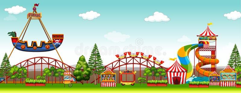 Scena del parco di divertimenti con i giri illustrazione vettoriale