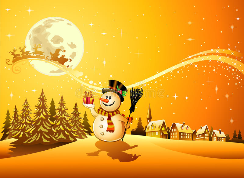 Scena del pupazzo di neve di natale royalty illustrazione gratis