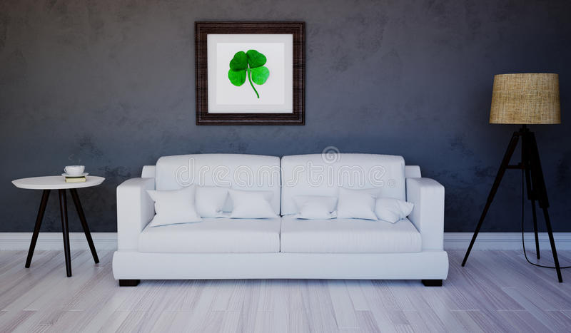 Scena del salone interno con l'immagine del trifoglio fotografia stock