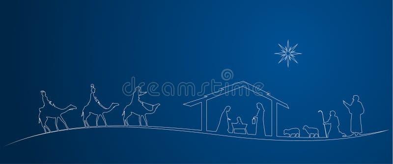 Scena del tempo di natività di Natale illustrazione di stock