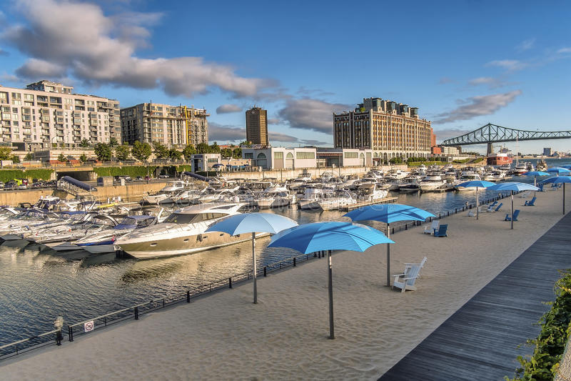 Scena del vecchio porto di Montreal fotografia stock libera da diritti
