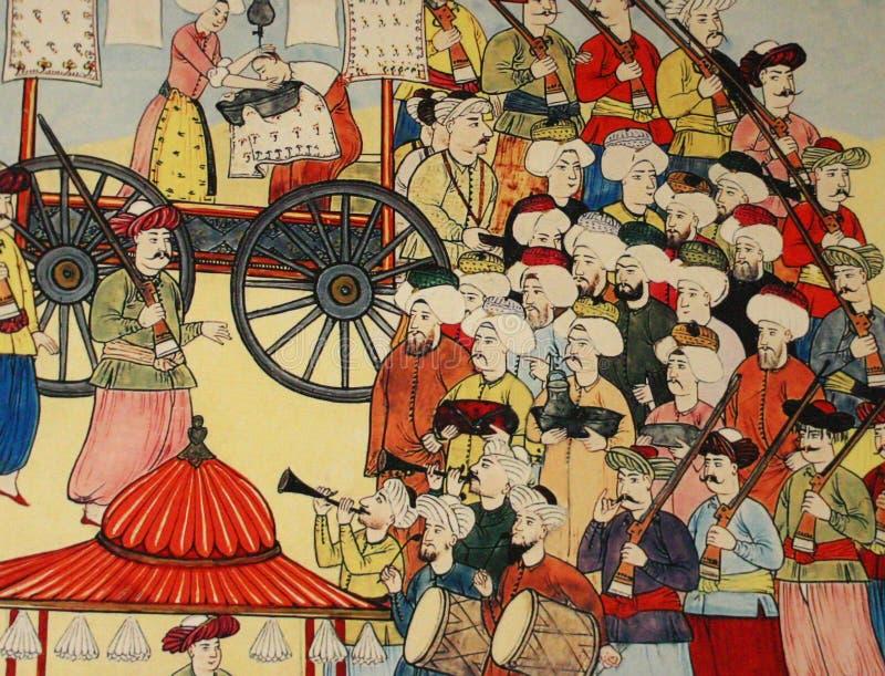 Scena dell'accampamento del Janissary, pittura dell'ottomano, illustrazione di stock