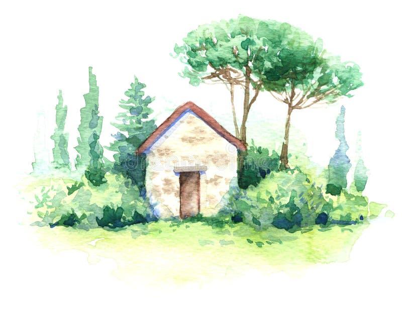Scena dell'acquerello con piccoli costruzione ed alberi royalty illustrazione gratis