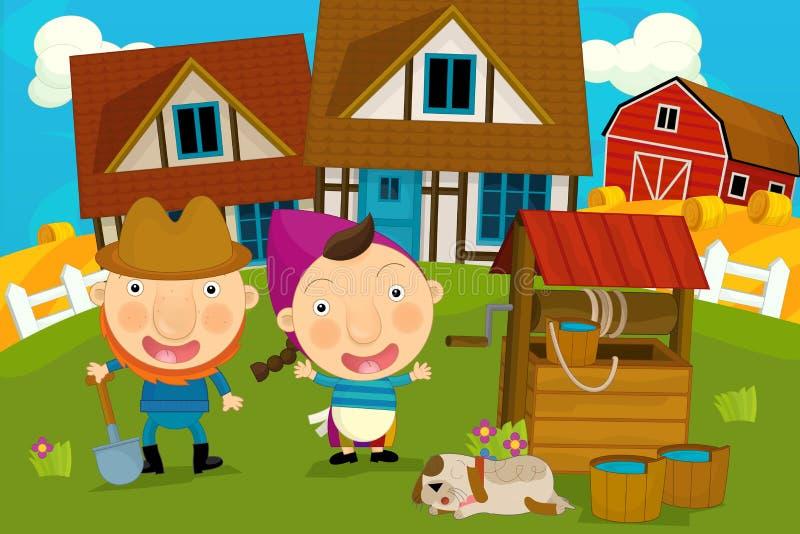 Scena dell'azienda agricola del fumetto - agricoltore e la sua moglie illustrazione di stock