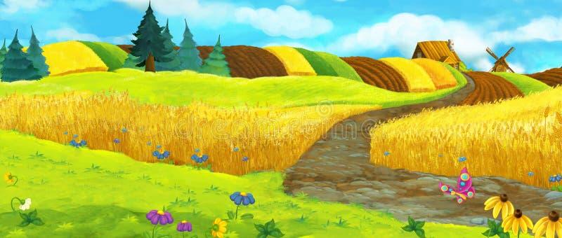 Scena dell'azienda agricola del fumetto - scena di estate illustrazione vettoriale